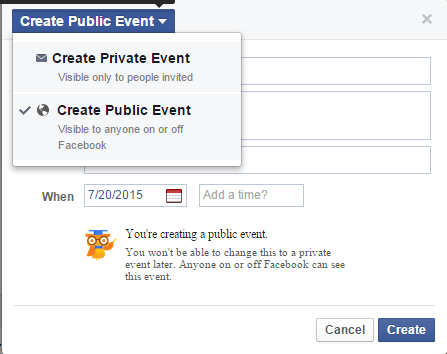public and private event, How to create an event on Facebook, how to promote an event on facebook