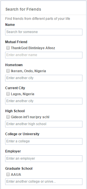 How to filter facebook search for people and prospects, facebook search friends by name and city, how to filter search results on facebook peoplefinders