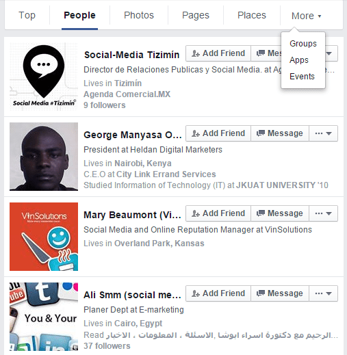 how to search people on facebook by employer