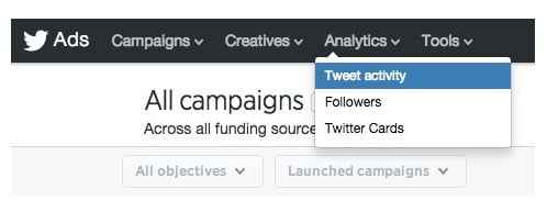 tweet activity dashboard, twitter ads campaigns page