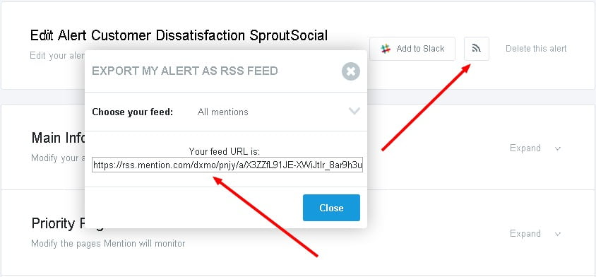 export mention alerts as rss feed