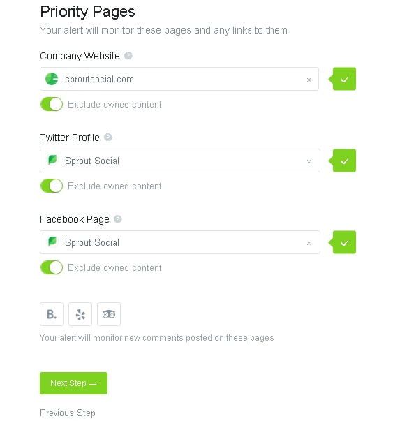 set priority pages social mentions
