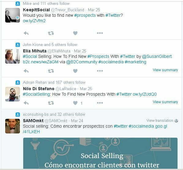 content sharers search results twitter