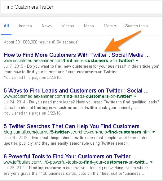 google first page results