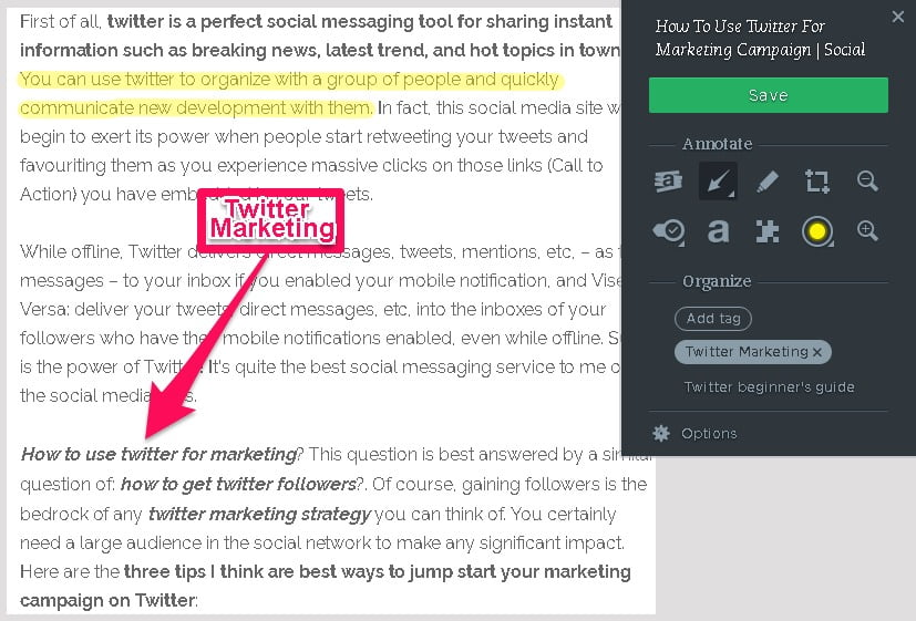Evernote Web clipper Annotation