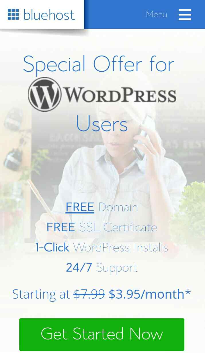 Bluehost WordPress landing page