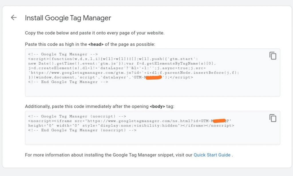 Install Google Tag Manager page, Copy your GTM codes