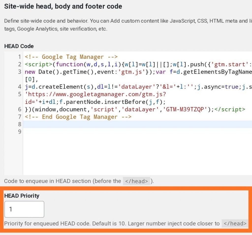 """Placing the Google Tag Manager code as highly as possible in the <head> tag using the """"head & footer code"""" plugin"""