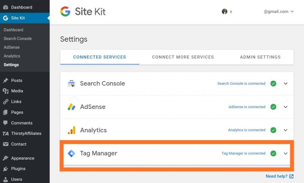 Google Tag Manager successfully connected to WordPress through Site Kit by Google plugin