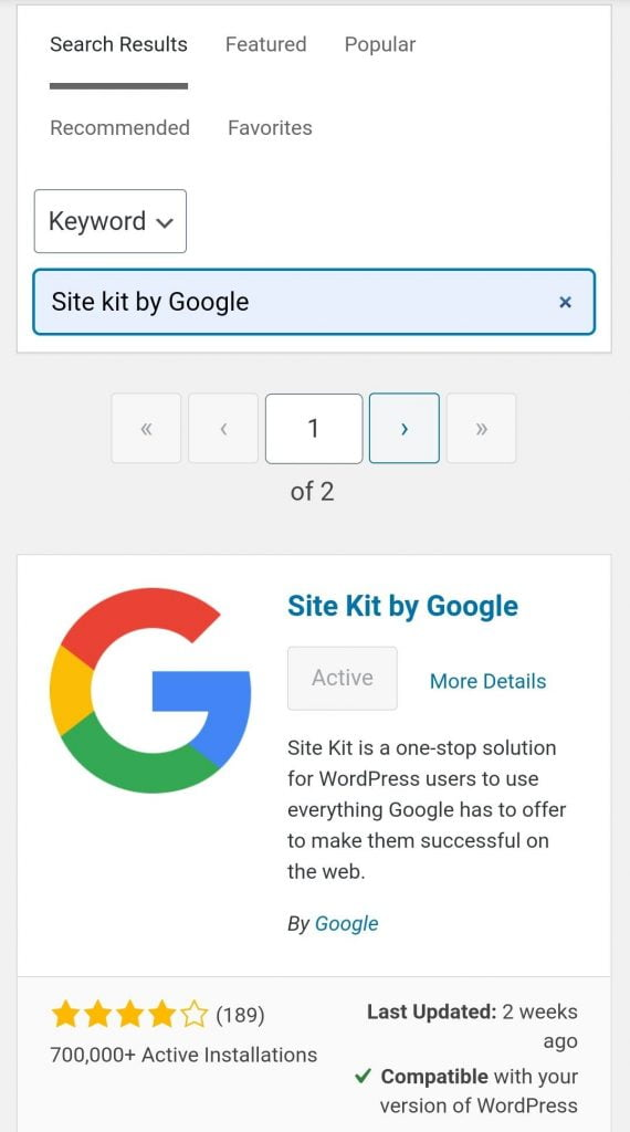 """Search """"Site Kit by Google"""" in the plugin repository"""