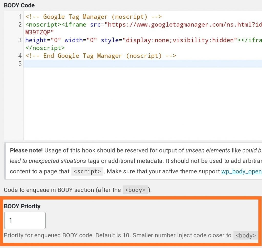 """Add the Google Tag Manager <noscript> code immediately after the opening <body> tag using the """"head & footer code"""" plugin"""